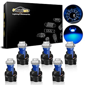 Partsam T5 73 74 Instrument Panel Gauge Cluster Dashboard LED Light Bulbs with Twist Sockets-6Pcs Blue