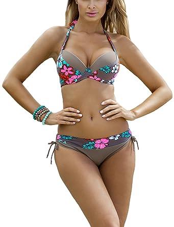 c191d982e9b79 Ewlon Luiza Eleganter Bikini-Set Für Damen, Neckholder, Herausnehmbare  Push-Up-Einlagen, Top Qualität, Made In EU