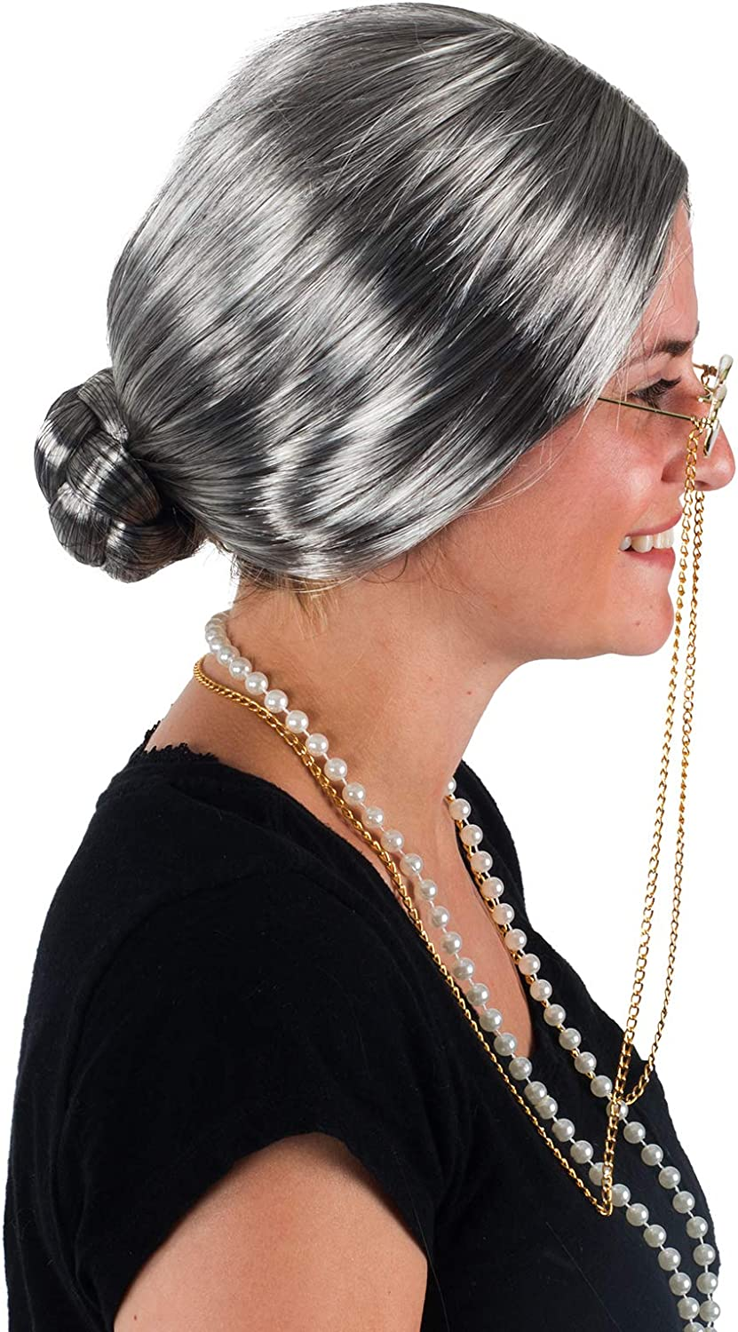 Granny Wig 4 Pc Set Old Lady Accessories Grey Granny Glasses Grandma Dress Up Tigerdoe Old Lady Costume with Cane