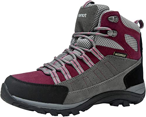 riemot Womens Mens Waterproof Hiking Boots Lightweight Outdoor Trail Trekking Walking Boot Low Cut