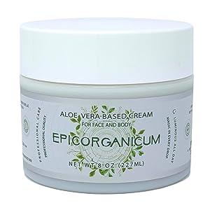 Organic Aloe Vera Moisturizing Cream Body and Face Moisturizer For Acne, Psoriasis, Rosacea, Eczema, Aging, Itchy Dry or Sensitive Skin Care Cream, Skin Care Face Natural Cream (8 oz)
