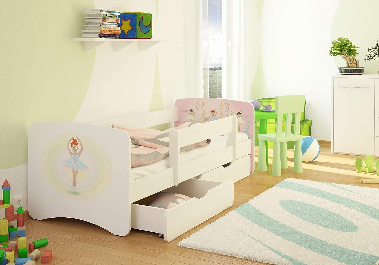 Best For Kids - Cama infantil con protección anticaídas, 2 cajones, somier, colchón de 10 cm, certificado TÜV, para niños y niñas, en 4 tamaños, ...