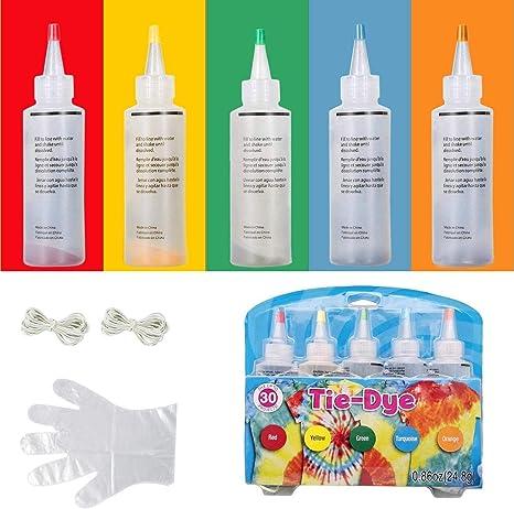 5 colores Tie Dye Kit,Kit de teñido permanente para teñir camisetas,camisa tela tinte con bandas de goma, guantes, Tinte Duministros No Tóxicos Moda ...