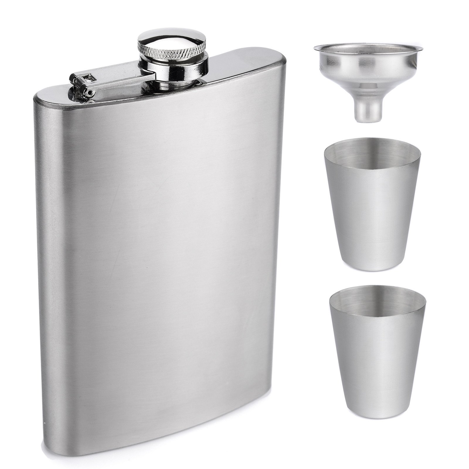AW 8oz Hip Flask Gift Set - Silver Pocket Flask for Liquor with Gift Box, Can be Engraved