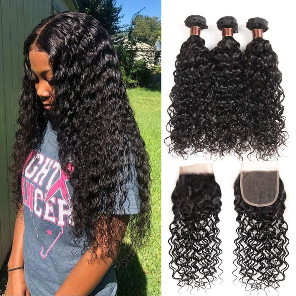 Brazilian Hair 3 Bundles With Closure Water Wave Virgin Human Hair Bundles With Lace Closure 100% Unprocessed Hair Extensions Natural Color (20 22 24+18,Free Part)
