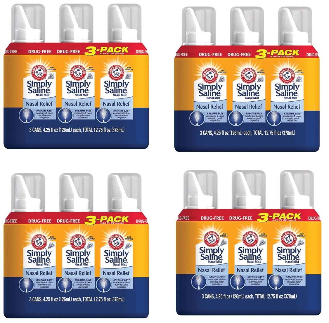 Arm & Hammer ZoGuPe Simply Saline Nasal Relief, 4.25 oz, 12 Pack