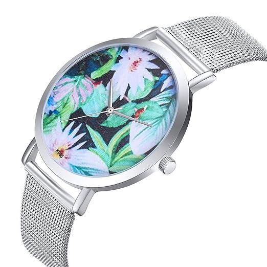 Reloj Mujer Relojes,QINGXIA_ZI Acero Inoxidable Oro Rosa Analógicos Cuarzo Blanco Impermeable Strass Purpurina Elegante