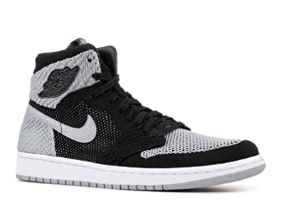 965a2af714a6 Image Unavailable. Image not available for. Color  Nike Men s Air Jordan 1  Retro Hi Flyknit Black Grey ...