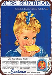 Isaric Tin Sign Custom Kraze 1950's Miss Sunbeam Bread Vintage Look Reproduction Metal Sign 8 x 12
