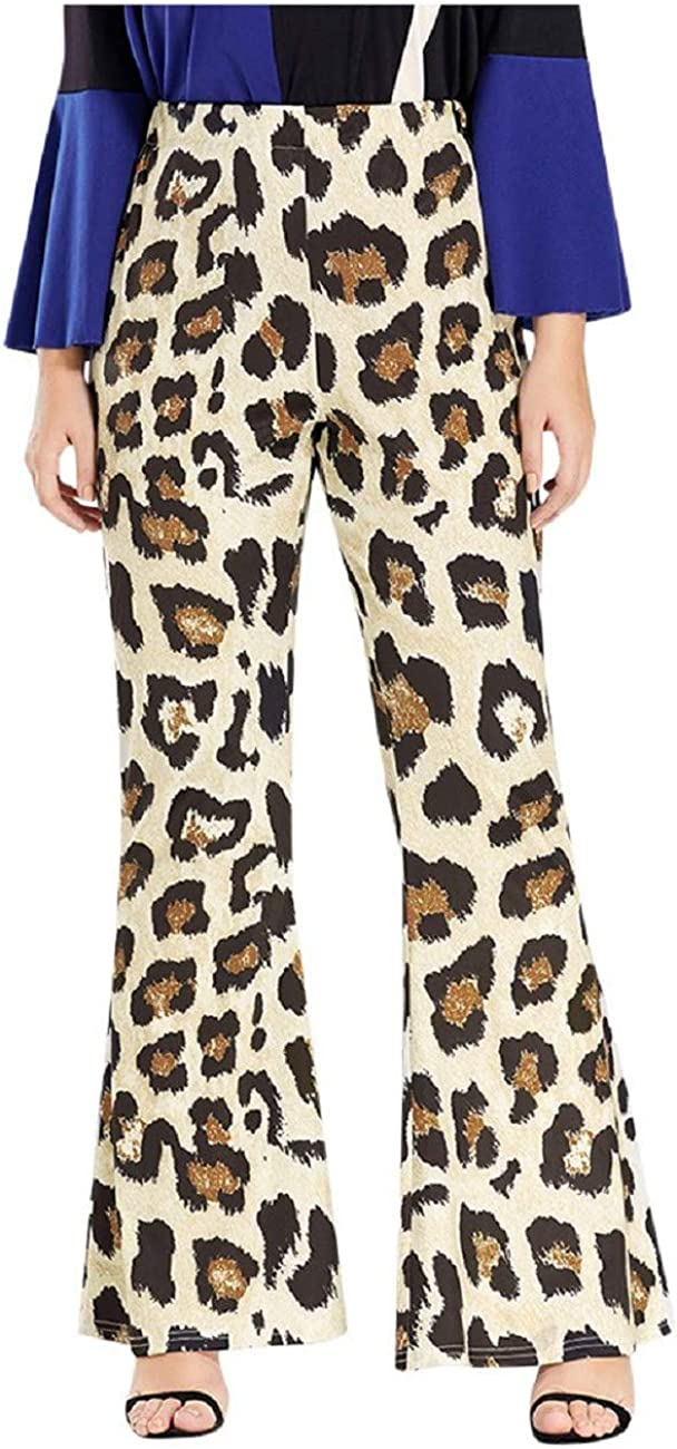 Tsmile Women Plus Size Leopard Print Pants Casual Loose Full-Length Oversized Comfy Breathable Boot Cut Trousers