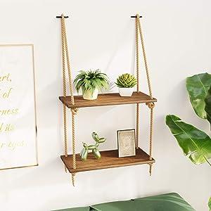 BAMFOX Hanging Wall Shelves,Swing Rope Floating Shelf,2 Tier Bamboo Hanging Storage Shelves for Living Room/Bedroom/Bathroom and Kitchen