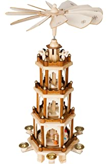 brubaker christmas pyramid 24 inches 4 tier carousel with 6 candle holder and hand