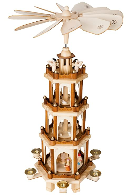 Christmas Pyramid.Brubaker Christmas Pyramid 24 Inches 4 Tier Carousel With 6 Candle Holder And Hand Painted Figurines Designed In Germany Nativity Set