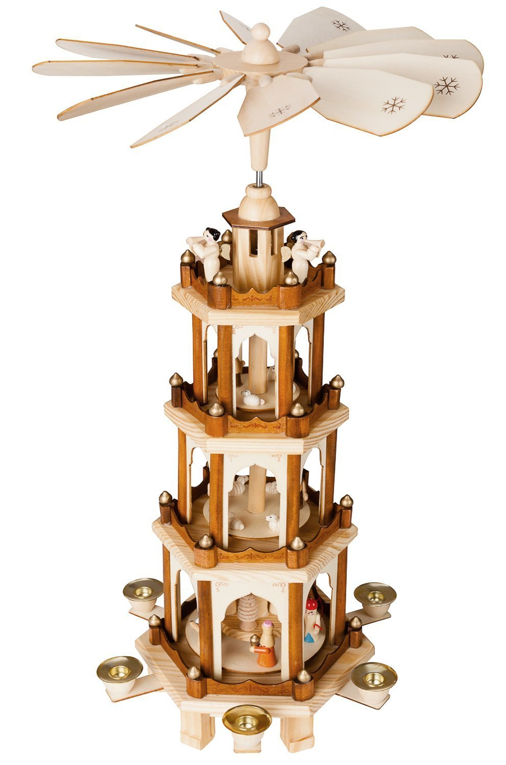 BRUBAKER Christmas Pyramid - 24 Inches - 4 Tier Carousel with 6 Candle Holder and Hand Painted Figurines - Designed in GERMANY - Nativity Set, Decoration