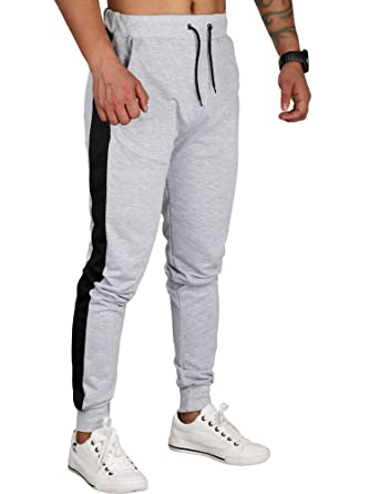 CARETOO Herren Jogging-Hose Stripe Stretch Pants Sporthose Slim-Fit Freizeithose
