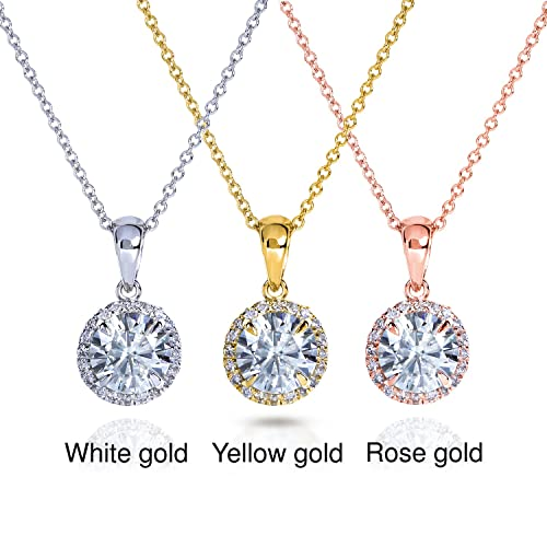 Round Moissanite and Diamond Necklace 1 1/10 CTW 14k Gold
