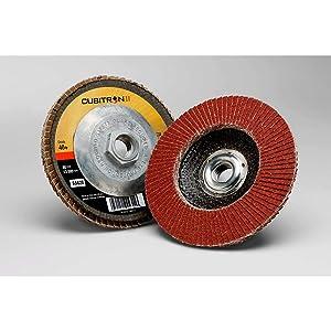 3M Cubitron II Flap Disc 967A, T27, 4-1/2 in x 7/8 in, 60+, 10 per case