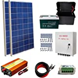 ECO-WORTHY 200W Solar Panel Kit: 2pcs 100W Poly Solar Panel + 1000W 12V-110V Off Grid Inverter + Combiner Box + Solar Cable Adaptor + 15A PWM Charge Controller+100AH Battery + Z Mounting Brackets