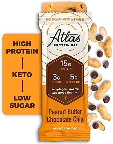 Atlas Bar – Keto Protein Bars, Peanut Butter Chocolate Chip – High Protein, Low Sugar, Low Carb, Grass Fed Whey, Healthy Protein, Gluten Free, Soy Free 10-Pack