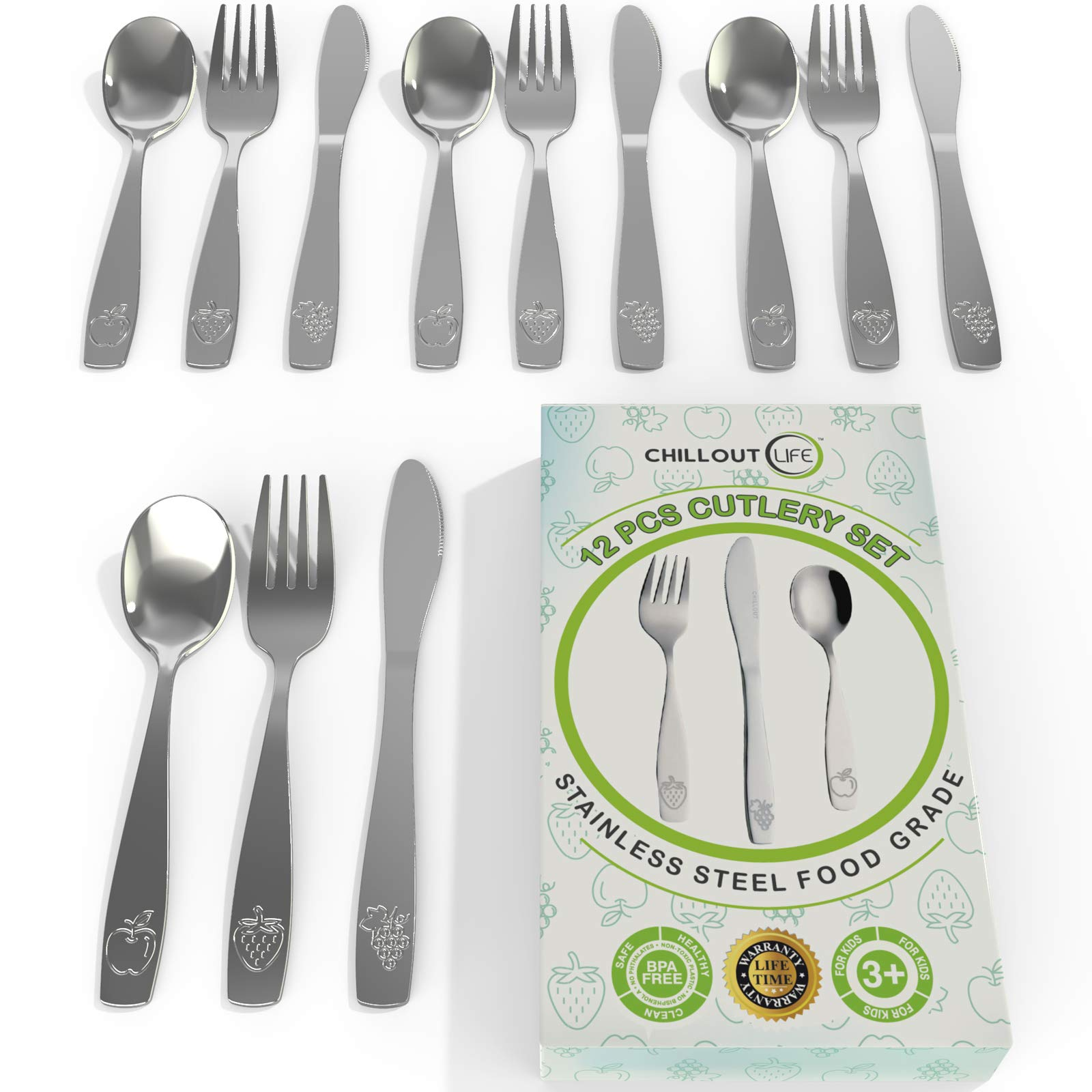 12 Piece Stainless Steel Kids Silverware Set   Child and Toddler Safe Flatware   Kids Utensil Set   Metal Kids Cutlery Set Includes 4 Small Kids Spoons, 4 Forks & 4 Knives by CHILLOUT LIFE