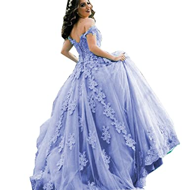 4f3c41e5e8b Thrsaeyi Women s Off Shoulder Quinceanera Dresses Lace Applique Bridal  Gowns Sweet 17 Wedding Gowns Lavender