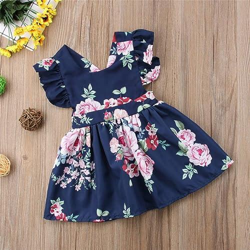 Dunkelblau Body Kleid mit rosa Rosen für Baby 10 bis 10 Monat