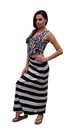 7d19932bb0c410 Ambiance Apparel White Black Striped Long Maxi Skirt at Amazon ...