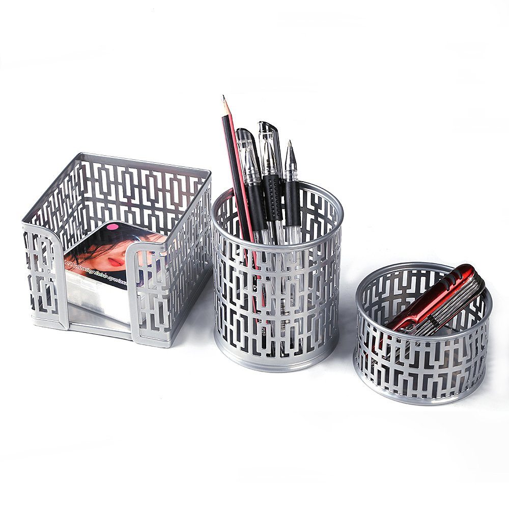 Crystallove Metal Mesh Office Supplies Desktop Organizer Set of 3pcs-Pencil Cup, Memo Holder and Clip Holder (Silver-Style 1)