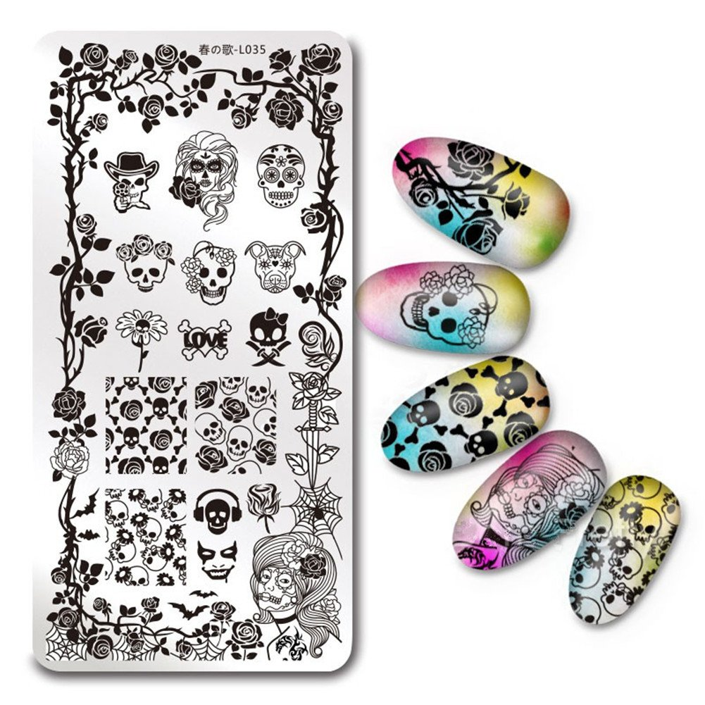 BORN PRETTY 1Pc Rectangle Stamping Plate SKull Rose Pattern Nail Art Image Plate Harunouta L035