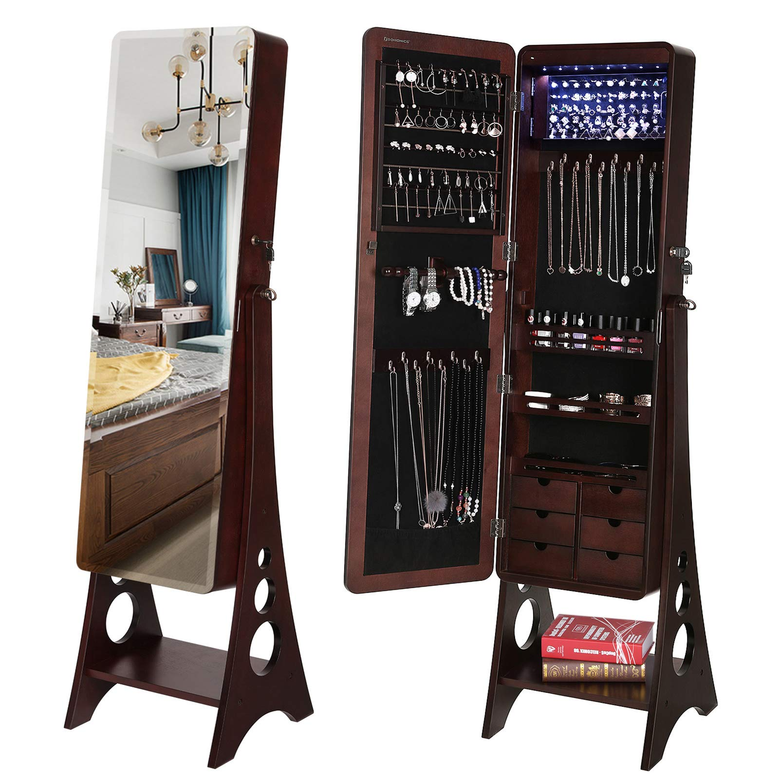 SONGMICS 8 LEDs Jewelry Cabinet Armoire with Beveled Edge Mirror, Gorgeous Jewelry Organizer Large Capacity Brown Patented UJJC89K by SONGMICS
