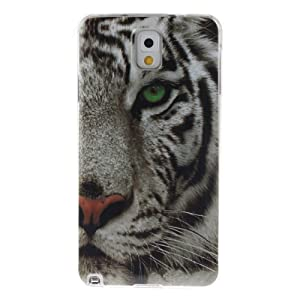 Coque Samsung Galaxy Note 3, Coffeetreehouse Housse Etui Protection Full Silicone Souple Ultra Mince Fine Slim pour Samsung Galaxy Note 3, Samsung Galaxy Note 3 Étui en TPU silicone - tigre blanc