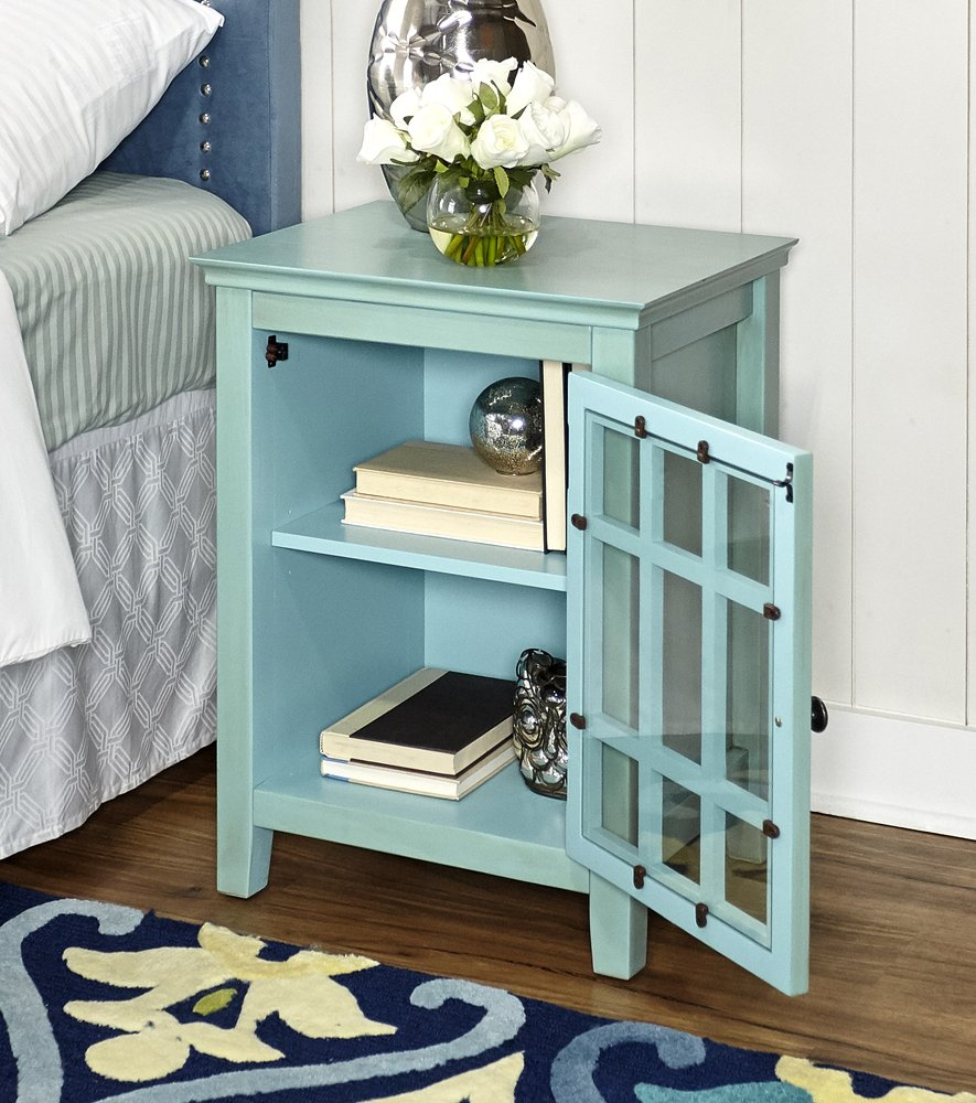 Linon AMZN0282 Reed Distressed Turquoise Single Door Cabinet Home Decor Products Inc