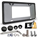 Aootf Aluminum License Plate Frame - 1 PC 100% Real Carbon Fiber Handmade Covering License Plate Frame | Stainless Steel…