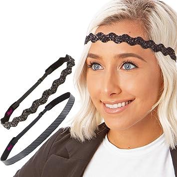 Hipsy Womens Elastic /& Adjustable No Slip Running Headband Multi Pack
