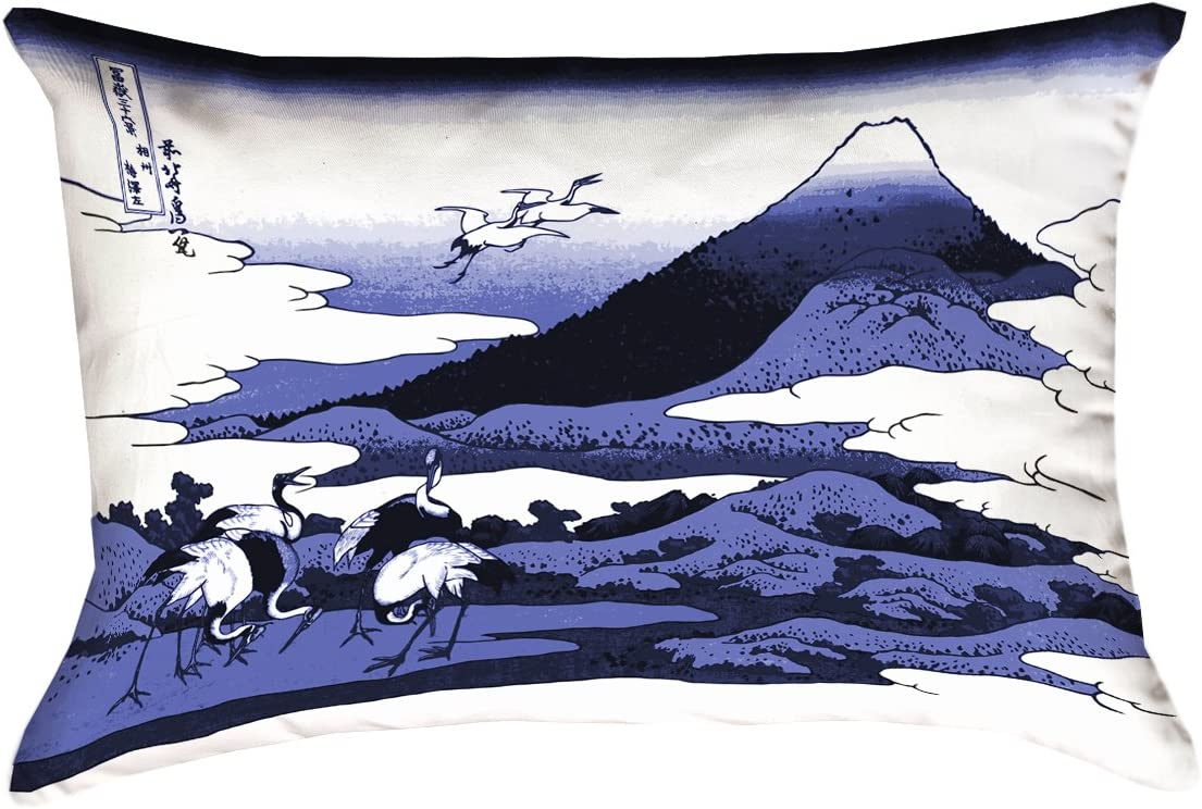ArtVerse Katsushika Hokusai 26 x 26 Faux Suede Double Sided Print with Concealed Zipper /& Insert Japanese Cranes in Green Pillow