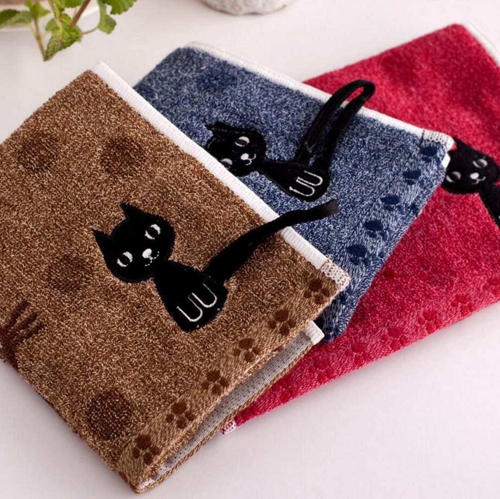 KINGOU Towel Pure Cotton Jacquard Weave Baby/Kid/Children Hand Wash Face Towel With Lovely Cat - 3PCS Package (25 x 50 cm)