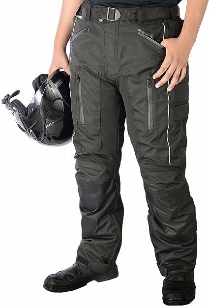 Pantalones Impermeables De Motero Para Hombre Tejido Cordura Protectores De Rodillas Y Muslos Aprobados Por La Ce Amazon Es Coche Y Moto