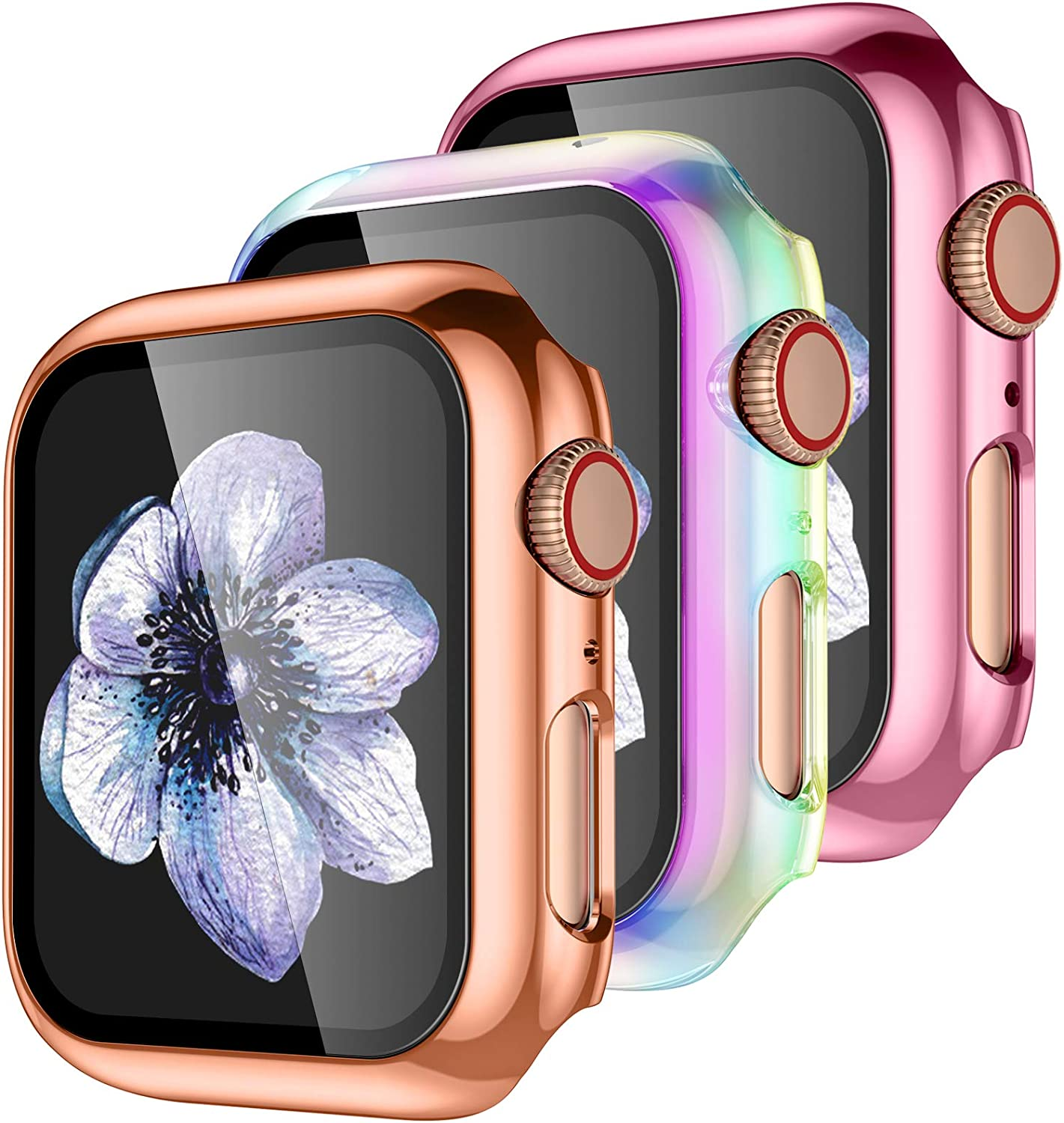 【3 Pack】 Easuny Design for Apple Watch Case 44mm Series 6 SE 5 4 with Built-in Glass Screen Protector - Overall Protective Hard Cover Accessories for iWatch Women Men,Rose-Gold Rose-Pink Colorful