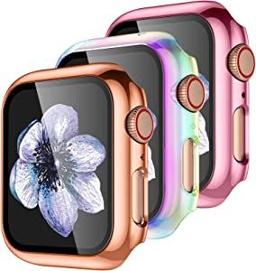 【3 Pack】 Easuny Design for Apple Watch Case 40mm Series 6 SE 5 4 with Built-in Glass Screen Protector - Overall Protective Hard Cover Accessories for iWatch Women Men,Rose-Gold Rose-Pink Colorful