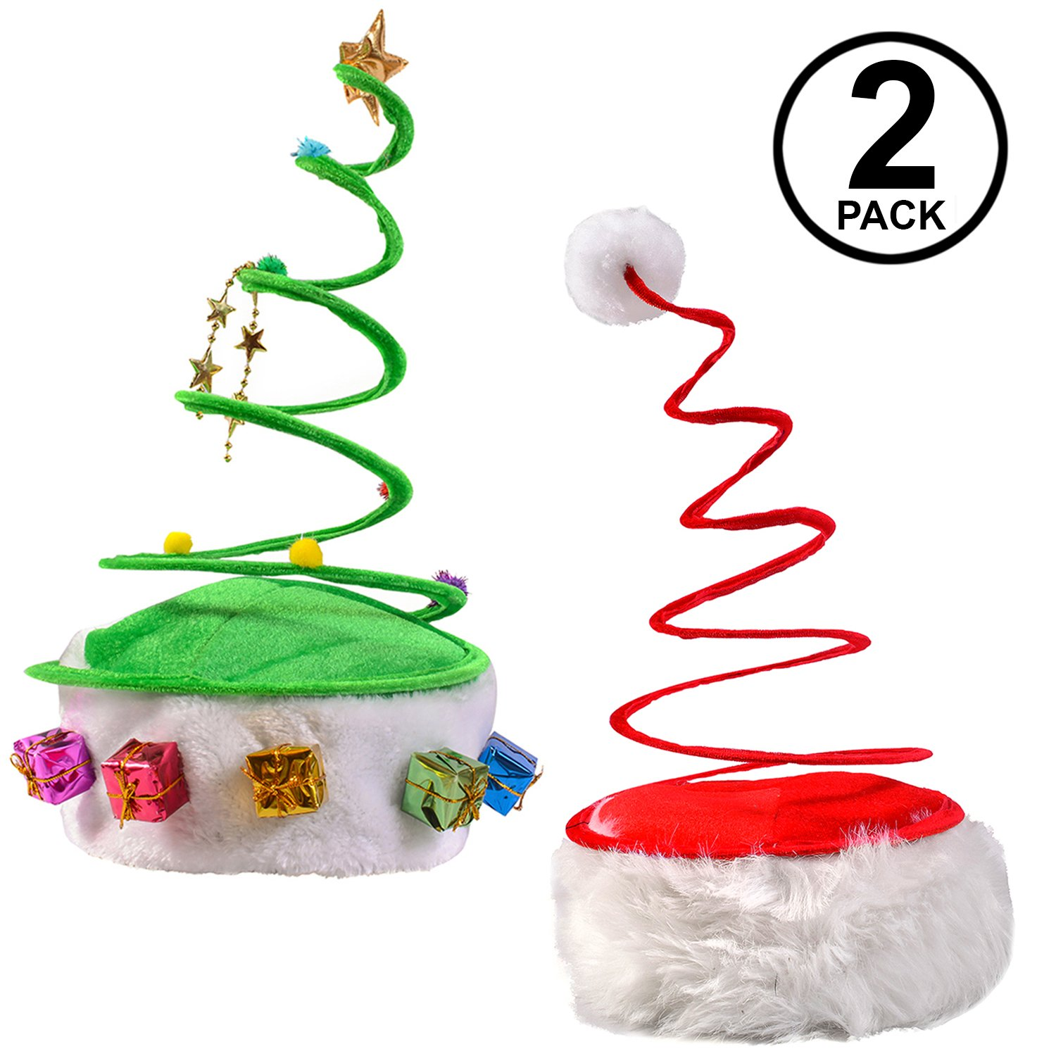 Amazon.com: Funny Party Hats Christmas Hats - Red Coil Santa Hat ...
