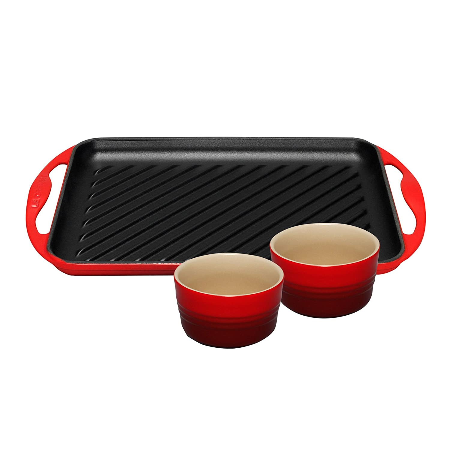 Le Creuset Cast Iron Rectangular Grill and Set of 2 Ramekins - Cerise