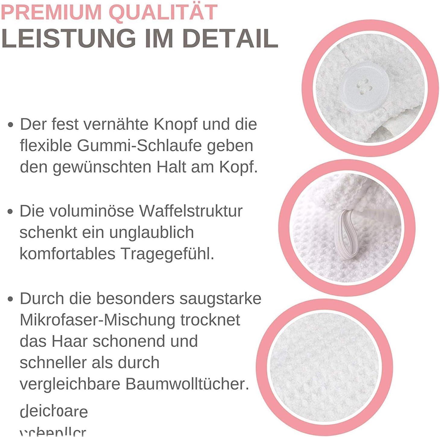 2 pi/èces Blanc Alpin NoBrand Turban Cheveux Serviette Microfibre pour t/ête et Cheveux Longs Serviette Turban avec Bouton