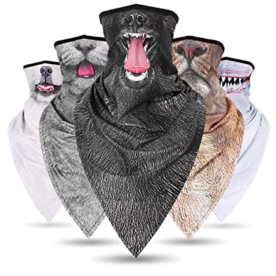 Emimarol 5PC Sun UV Protection Neck Gaiter,Face Scarf,Dust Bandana Balaclava,Fishing Hiking Cycling Half Face Cover Gray: Clothing