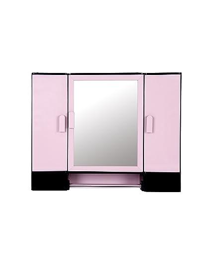 Kosmo Jupiter Rod Pink Bathroom 3 Door Mirror Cabinet With Storege