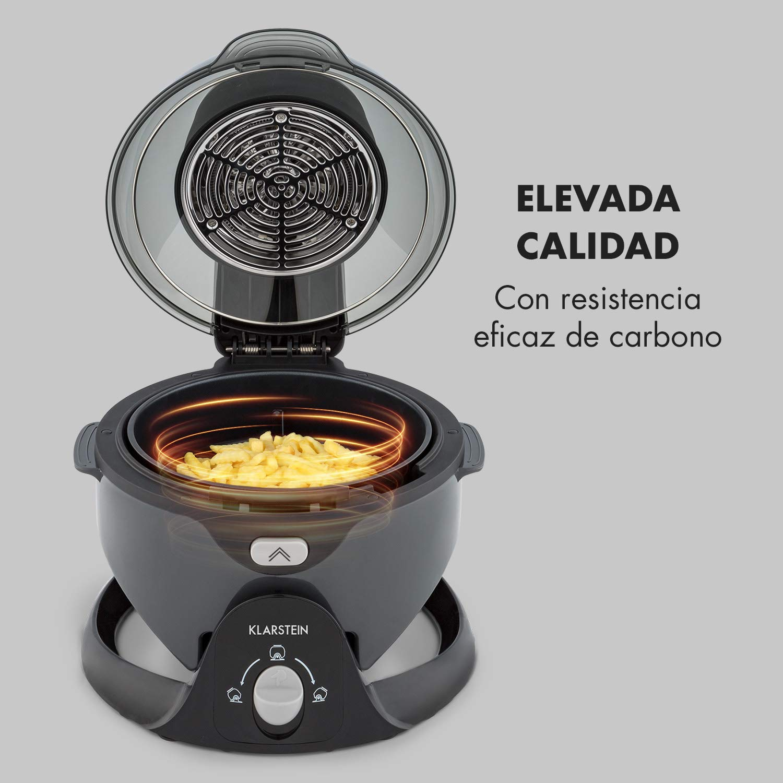 programable hasta 60 min no quema 1400 W sistema de rotaci/ón panel digital de 50-240 /°C fuente de calor de carbono blanco cocinado a 360/° Klarstein VitAir Swing freidora de aire caliente