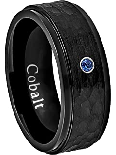 0.07ct Black Diamond Solitaire Ring Comfort Fit Dome Cobalt Wedding Band CT278