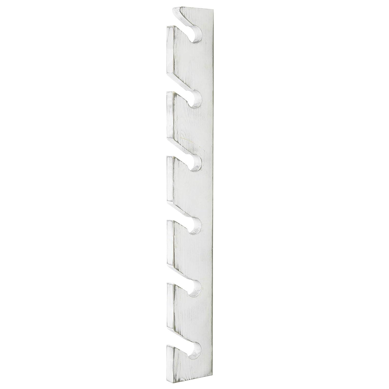 MyGift Vintage White Wood Wall-Mounted 6-Slot Baseball Cap Display Rack