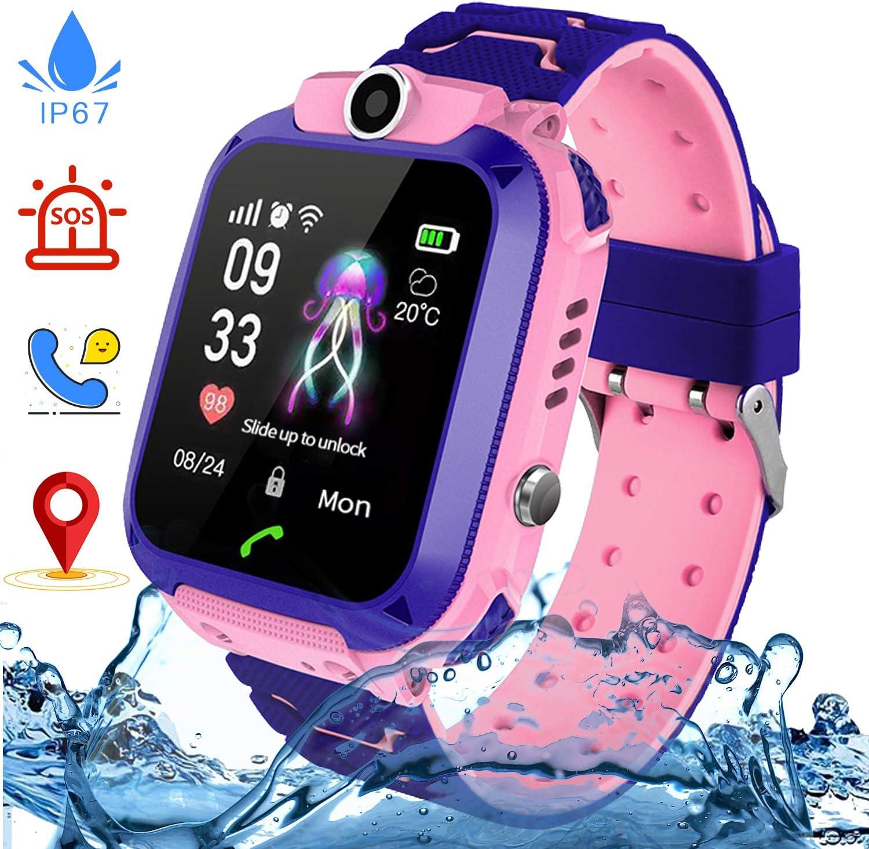 Jaybest Reloj Inteligente para Niños, Smartwatch Telefono Impermeable con SOS, LBS, Comunicación Bidireccional Cámara Chat de Voz, Reloj Infantil Regalo para Niño Niña de 3-12 Años (Black)
