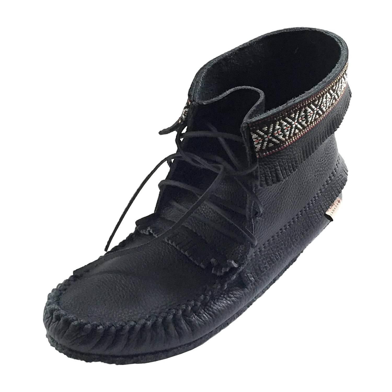 Men's Fringe and Braid Black Apache Moccasin Boots