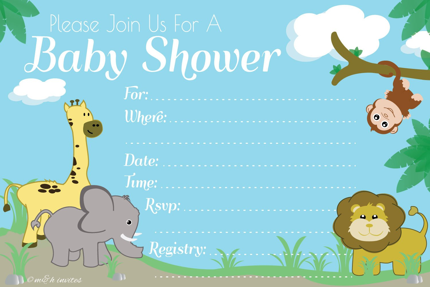 Amazon.com: Jungle Safari Baby Shower Invitations - Fill In Style ...